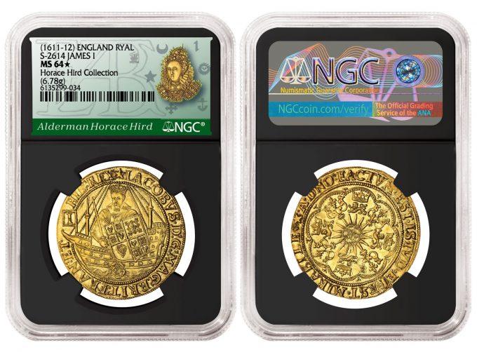 England (1611-12) Ryal graded NGC MS 64★