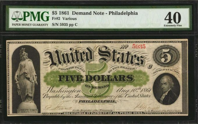 Fr. 2. 1861 $5 Demand Note. PMG Extremely Fine 40