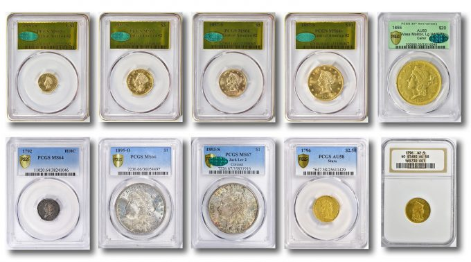 A sample of the rare coins sold in August by GreatCollections