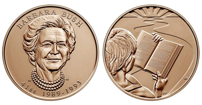 U.S. Mint images of a Barbara Bush First Spouse Bronze Medal