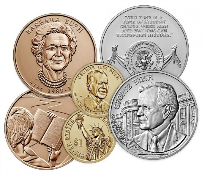 U.S. Mint images of the coin and medals in the George H.W. Bush Coin and Chronicles Set