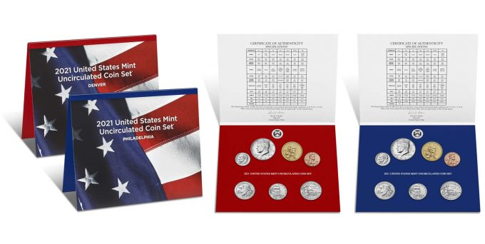 U.S. Mint product images of their 2021 Uncirculated Coin Set