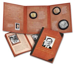 U.S. Mint product images of the George H.W. Bush Coin and Chronicles Set