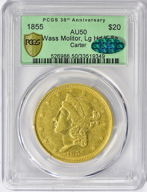 Unique 1855 Wass, Molitor & Co. Large Head Gold Twenty Dollar
