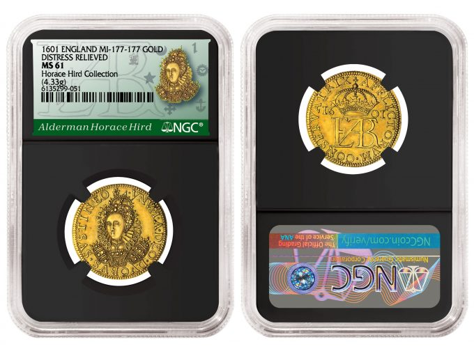England 1601 Gold Distress Relieved example graded NGC MS 61