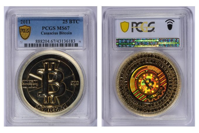 This gold-plated Casascius 25 Bitcoin, graded PCGS MS-67, will be offered without reserve by GreatCollections in an auction that closes on November 14. (Photos courtesy of GreatCollections.)