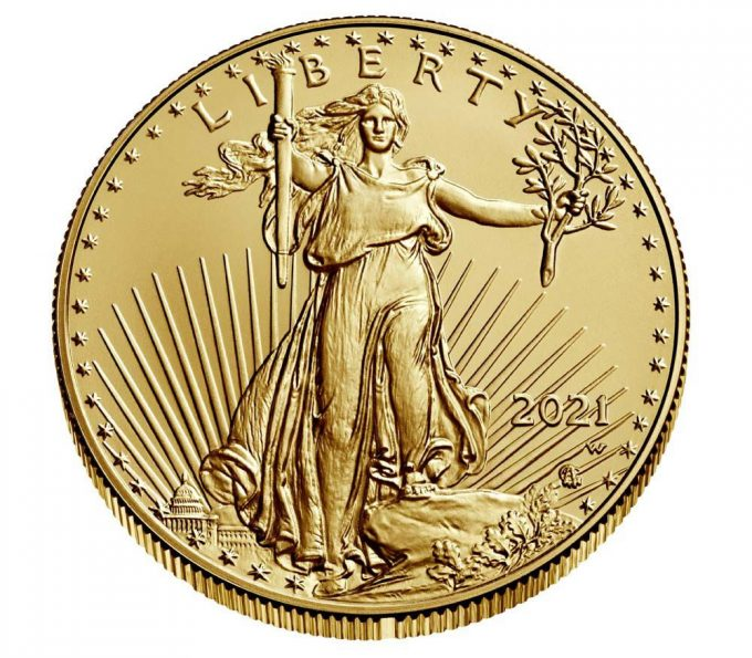 Mint image 2021-W $50 Uncirculated American Gold Eagle - obverse
